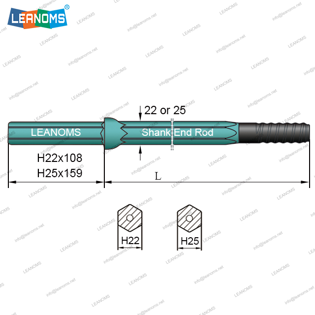 H22/H25 Shank End Drilling Rod